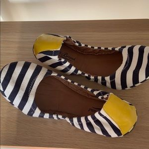 Lucky Brans navy and white striped flats